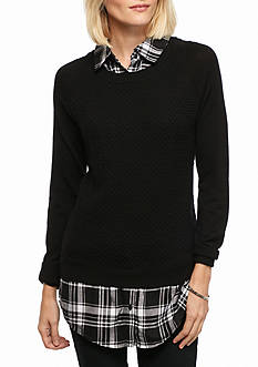Kim Rogers 2Fer Sweater With Plaid
