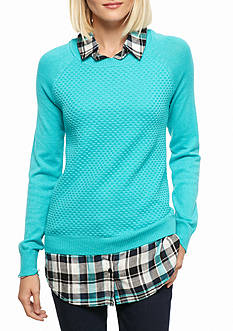Kim Rogers® 2Fer Sweater With Plaid