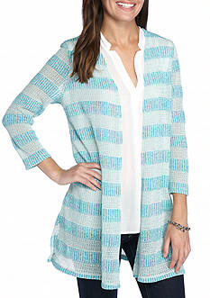 Kim Rogers Textured Striped Cardigan