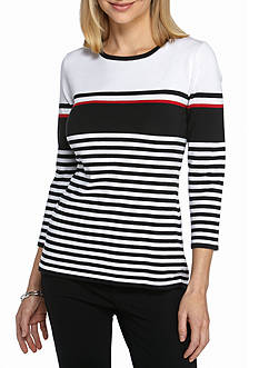 Kim Rogers Stripe Color Block Pullover