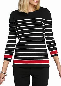 Kim Rogers Stripe Colorblock Pullover