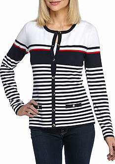 Kim Rogers Stripe Color Block Cardigan