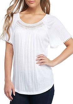 Kim Rogers Short Sleeve Flutter Crinkle Tee Shirt