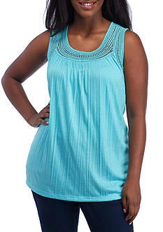 Kim Rogers Plus Size Crinkle Crochet Trim Scoop Neckline Top