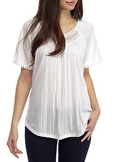 Kim Rogers Petite Short Sleeve Crinkle Crochet Scoop Top