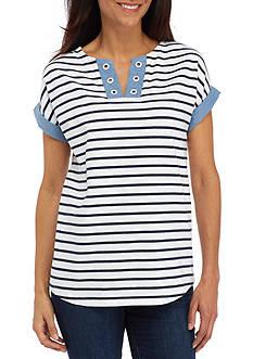 Kim Rogers Petite Size Trim Sleeve Striped Top
