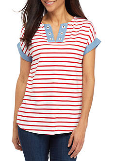 Kim Rogers® Petite Size Trim Sleeve Striped Top
