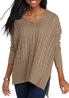 LOVE by DESIGN V-Neck Cable Tunic Sweater