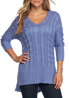 LOVE by DESIGN V Neck Cable Tunic Sweater