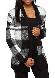 LOVE by DESIGN Plaid Open Cardigan