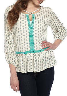 LOVE by DESIGN Long Sleeve Boho Print Peplum Top