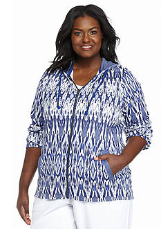 Kim Rogers® Plus Size Ikat Hooded Zip Jacket