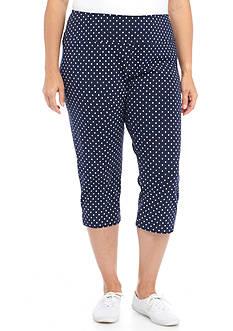 Kim Rogers Plus Size Jersey Dot Capri Pant