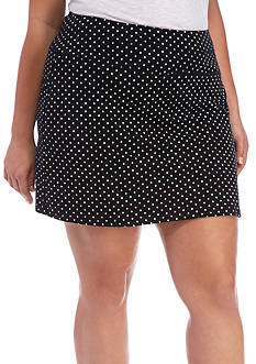 Kim Rogers® Plus Size Dot Stretch Jersey Skort