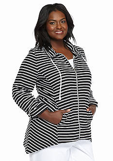 Kim Rogers® Plus Size Striped Shark-Bite Jacket