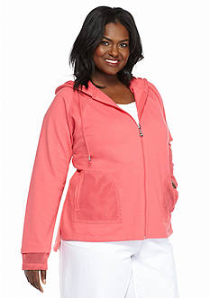 Kim Rogers® Plus Size Mesh Trim Jacket