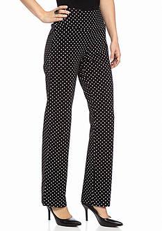 Kim Rogers Petite Straight Polka Dot Pull On Pants