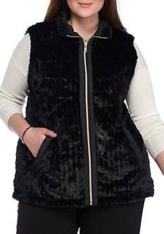 Kim Rogers Plus Size Reversible Faux Fur Vest