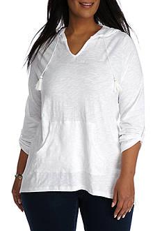 Kim Rogers Plus Size Solid Tassel Hoodie