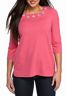 Kim Rogers® Petite French Terry Grommet Tunic Knit Top