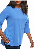 Kim Rogers® Plus French Terry Grommet Tunic