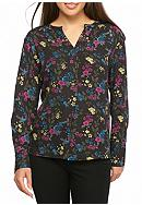 Kensie Bird Floral Woven Blouse