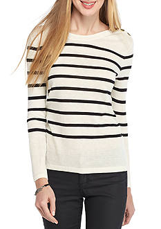 Kensie Stripe Crew Neck Sweater