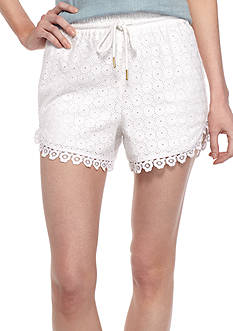 Kensie Eyelet Lace Shorts with Scallop Edge