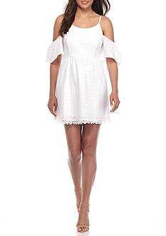 Kensie Eyelet Lace Cold Shoulder Dress