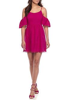 Kensie Eyelet Lace Cold Shoulder Dress