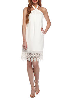 Kensie Woven Halter Dress with Lace