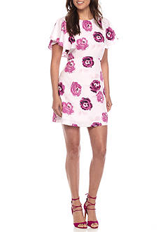Kensie Garden Rose Flutter Sleeve Dress