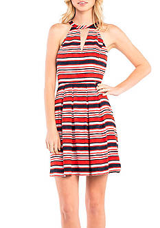 Kensie Nautical Striped Halter Dress