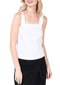 Kensie Crepe Top With Buckle Accents