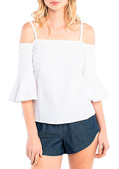 Kensie Cold Shoulder Bell Sleeve Top