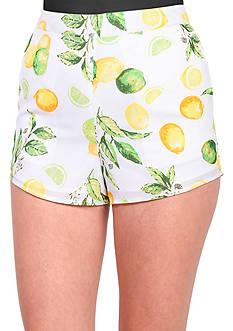 Kensie Citrus Printed Crepe Shorts