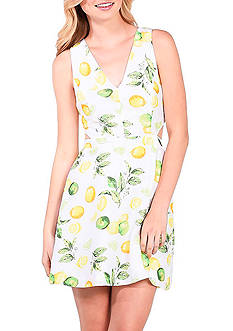 Kensie Citrus Printed Cutout Dress