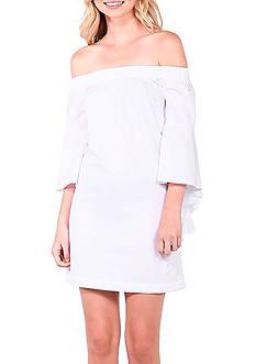 Kensie Off The Shoulder Bell Sleeve Poplin Dress