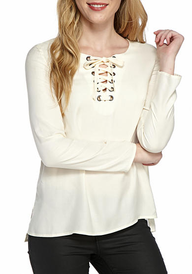 Kensie Lace Up Blouse