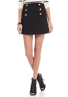 Kensie Faux Button Front Skirt