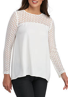 Kensie Long Sleeve Crepe Blouse