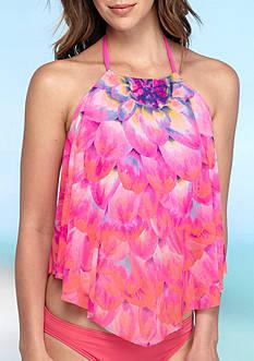 Coco Reef Mesh Ruffle High Neck Tankini Swim Top