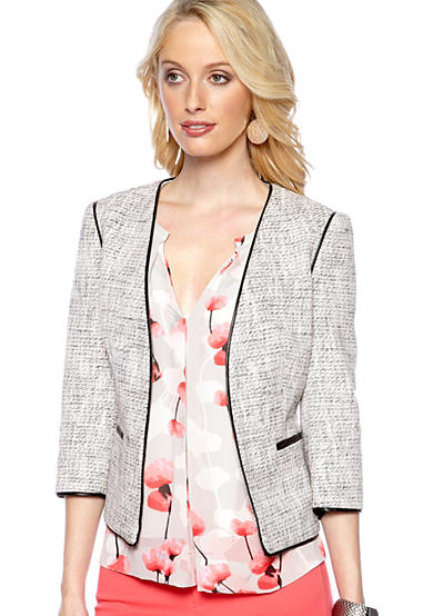 DKNY Three Quarter Sleeve Jacket with Faux Leather Piping