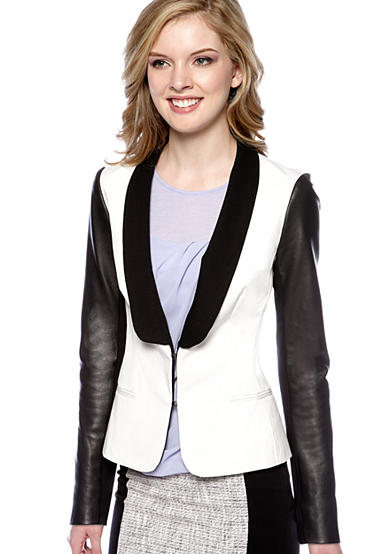 DKNY Long Sleeve Shawl Collar Blazer with Leather Sleeves