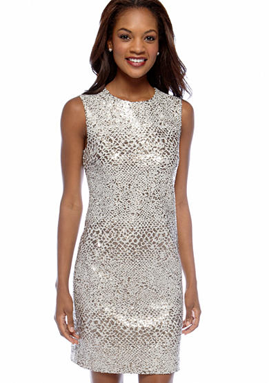 DKNY All Over Sequin Dress with Exposed Zipper