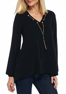 New Directions Grommet Necklace Sharkbite Top