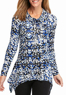 New Directions Printed Cowl Neck Top