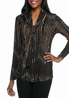 New Directions Printed Tie Neck Top