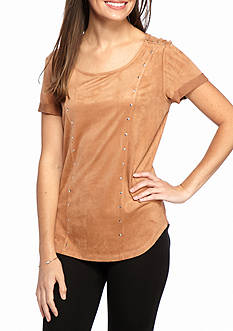New Directions Studded Suede Top