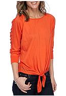 New Directions® Crinkle Tie Front Top